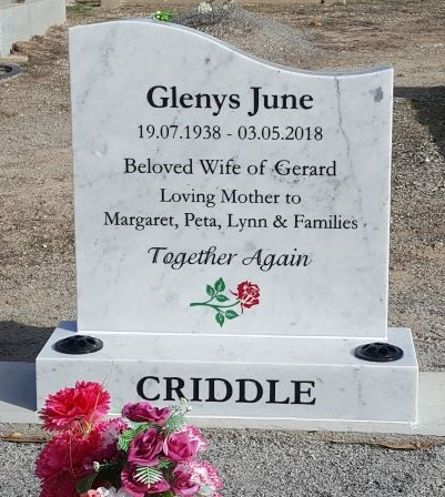 White marble headstone by Mid West Funerals
