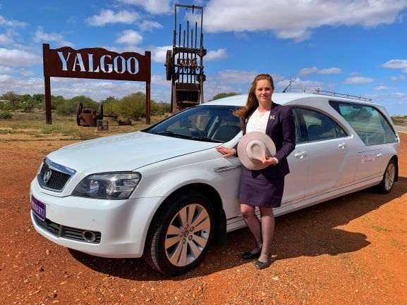 Nikki, a Funeral Director at Mid West Funerals in the stunning outback of Yalgoo after a beautiful funeral in Mount Magnet.